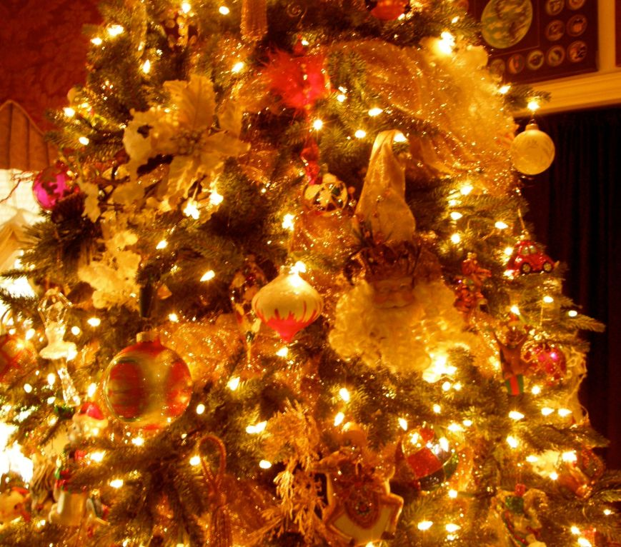 Here is a closeup of the big Family Room tree.  I use Ornamotors to bring motion to the tree, so the bottom left ornament is actually turning that is why it is a little blurred.