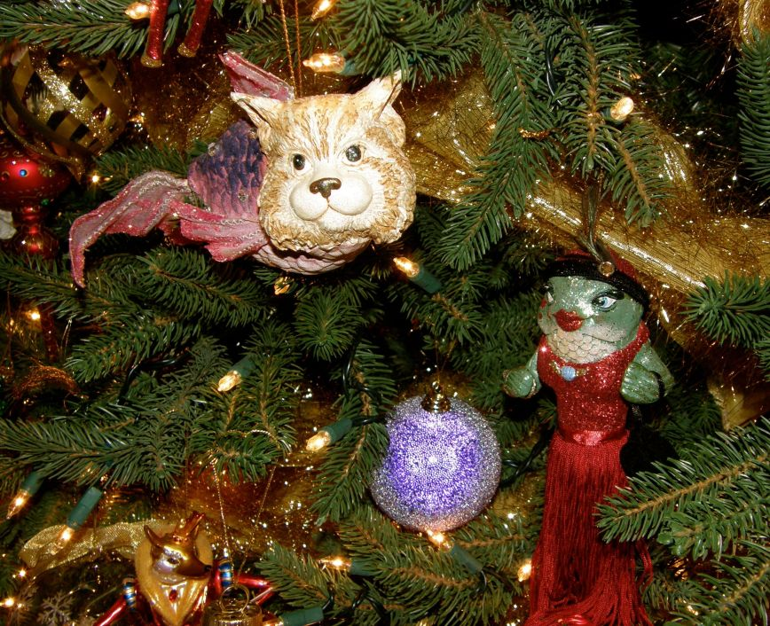 This tree is a fun tree to me because I love puns and kooky things.  This CatFish ornament is one of my favorite of the kooky ornaments, and the other ornament is dressed like me if I were a fish.  LOL