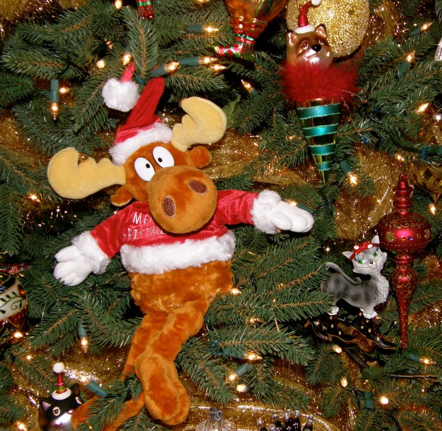 My husband loves Bullwinkle, so this stuffed animal always goes on this tree for him.  The little prissy cat ornament represents one of my cats that you can see in my Sewing Assistant gallery.