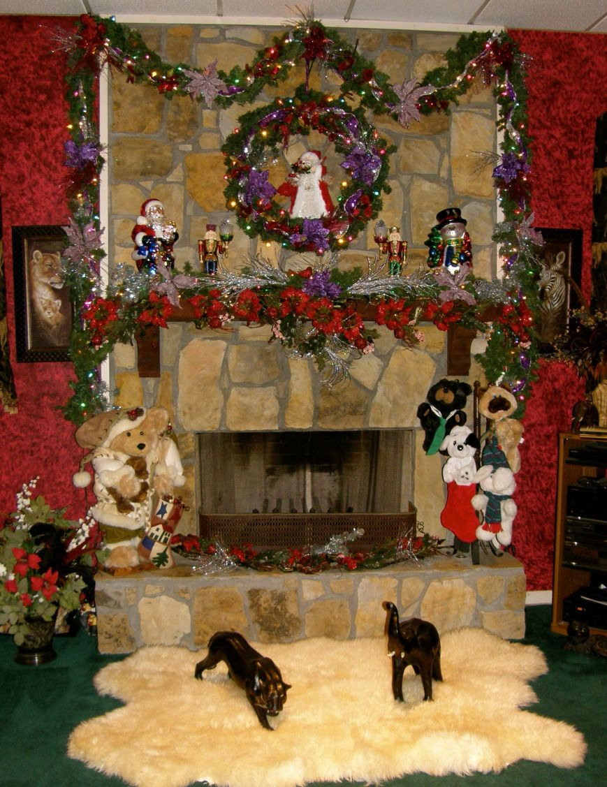 Full view of the family room fireplace.