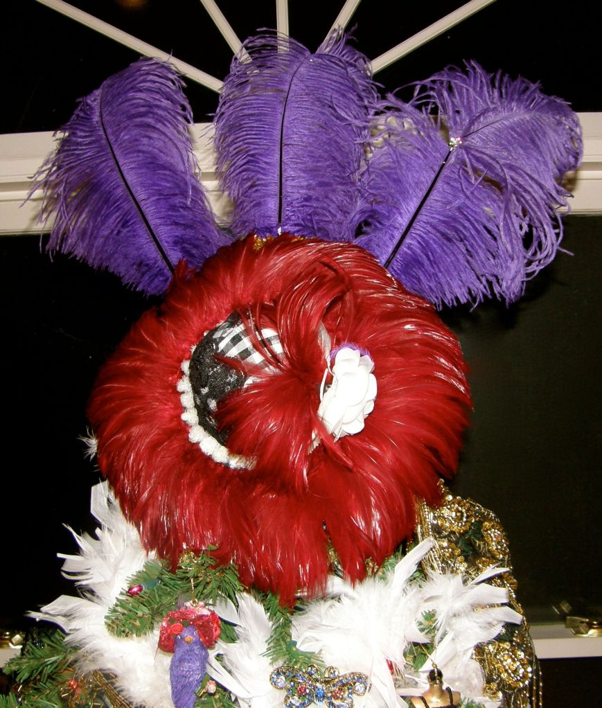 The purple feathers are from a costume headdress I had.  The red hat (no I'm not a member of the Red Hat Society), I made using a feather trim, a white flower, and a sequin floral trim all from my sewing stash.  The black check is from a negligee that I cut up.